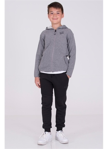 Silversun Kids Koyu Kapüşonlu Önden Fermuar Kapamalı Cepli Erkek Çocuk Sweatshirt Jm 314817 Gri